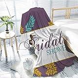 "Bridal Shower VelvetPlushBlanket Farm Village Abstract Flowers Bride Party Celebration Image Teen Girl 50""x65"" Purple Sky Blue and Marigold"
