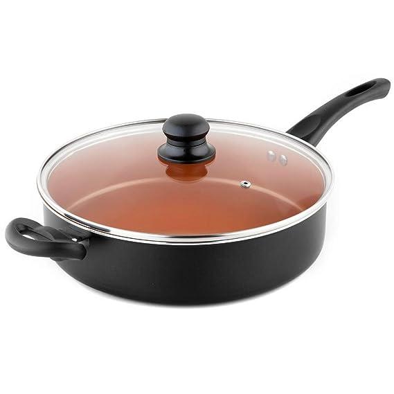 MICHELANGELO Ultra Nonstick 5 Quart Copper Saute Pan with Lid, Copper Frying Pan, Deep Saute Pan Nonstick, 11 Inch Induction Skillets