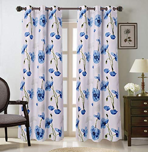 """2 Grommet Curtain Panels 74"""" W x 84"""" L with Decorative Floral Design Print, Light Filtering Room Darking Thermal Foam Back Lined Curtain Panels for living/bedroom room and patio door - Multicolor Blue"""