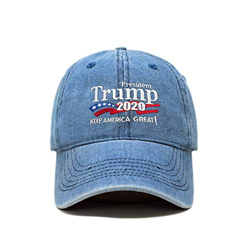 ChoKoLids Trump 2020 Keep America Great Campaign Embroidered USA Hat | Baseball Bucket Trucker Cap (PC103 Light Denim)