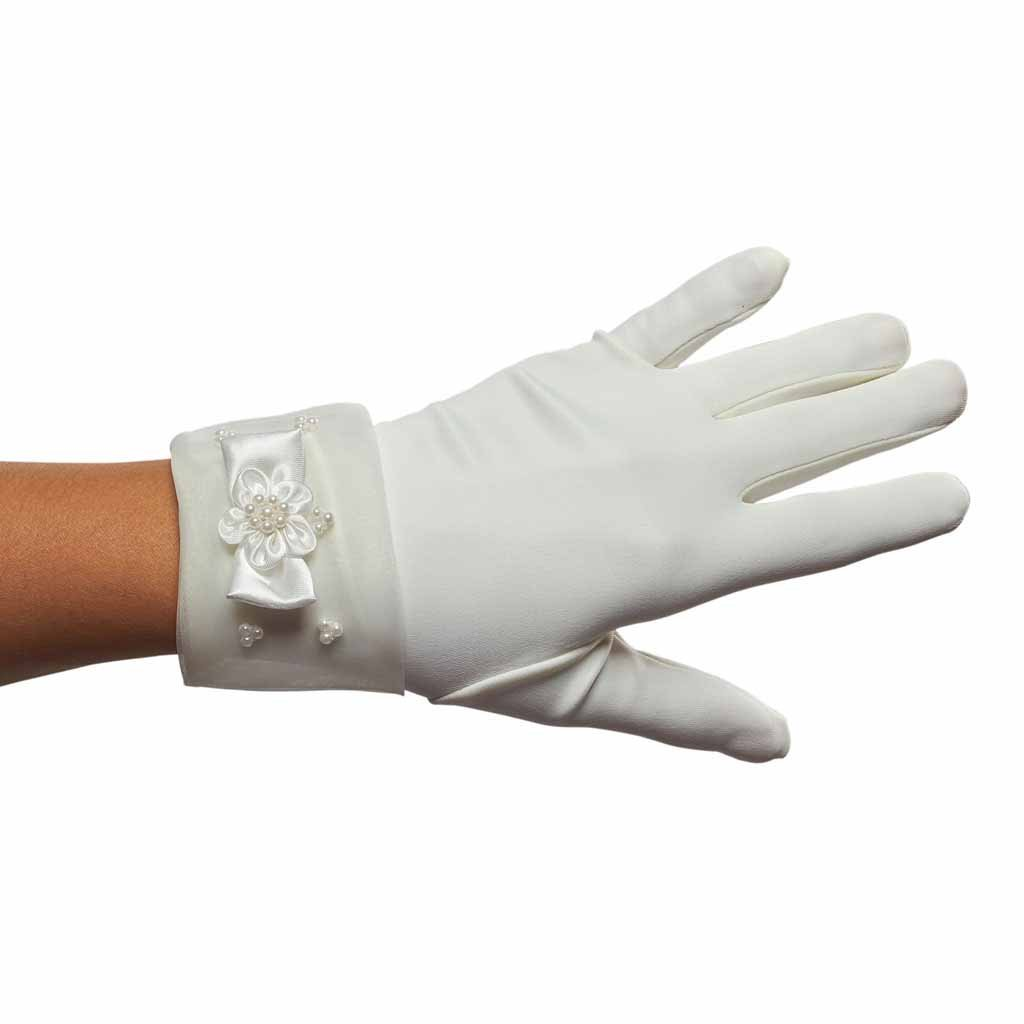 Pearls before Princesses Girls Cuffed Gloves (Ivory, 8 - 12 years)