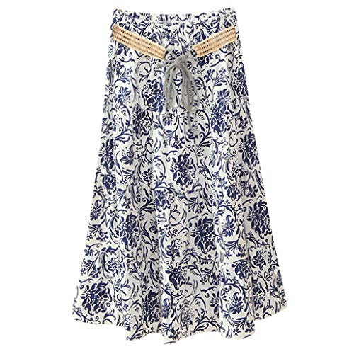 O-ring Long Gown - WOCACHI Womens Boho High Waist Skirts Floral Print Casual Beach Maxi Long Skirt 2019 Summer Deals Fashion Ladies Sundress Polka Dot Bohemian Ankle Length Mini Vacation Beachwear
