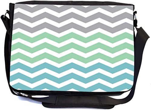 Rikki Knight Chunky Chevron Grey Turquoise Ocean Zig Zag Design Multifunctional Messenger Bag - School Bag - Laptop Bag - with Padded Insert for School or Work - Includes Matching Compact Mirror