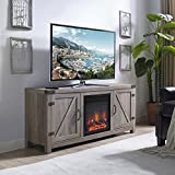 New 58 Inch Barn Door Fireplace Television Stand in Grey Wash Color