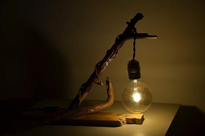 Lampe de table bureau en bois flotté naturel bajour abat jour
