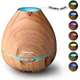 Kekilo Wood Grain 300ML Ultrasonic Aroma Diffuser for Essential Oils, Cool Mist Air Humidifier with 7 Color LED Lights Changing for House Office Yoga Spa Baby Bedroom Living Room TT-501 (Light Wood)