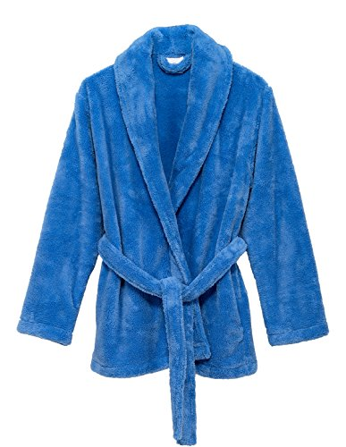 TowelSelections Women's Bed Jacket Fleece Cardigan Cuddly Robe Medium/Large Cornflower Blue