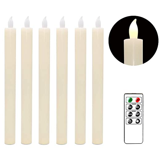 Flickering Warm White Light Window Candles Set of 6 for Christmas Home Decoration Eldnacele White LED Battery Operated Taper Candles with Remote and Timer White