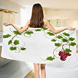 Vineyard,Bath Towel,Curved Ivy Branch Deciduous Woody Wines Seeds Clusters Cabernet Theme Print,Customized Bath Towels,Green Purple Size: W 19.5'' x L 39.5''