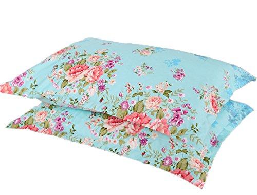 A Pair of Queen Size Cotton Pillowcase / Flowers Design Pillow Cover (50 x 75 cm)