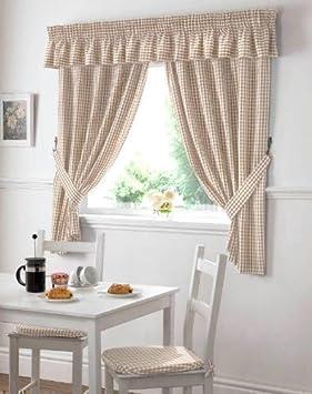 cuadros vichy beis crema cortinas de cocina cortinas w x l u galera w x l