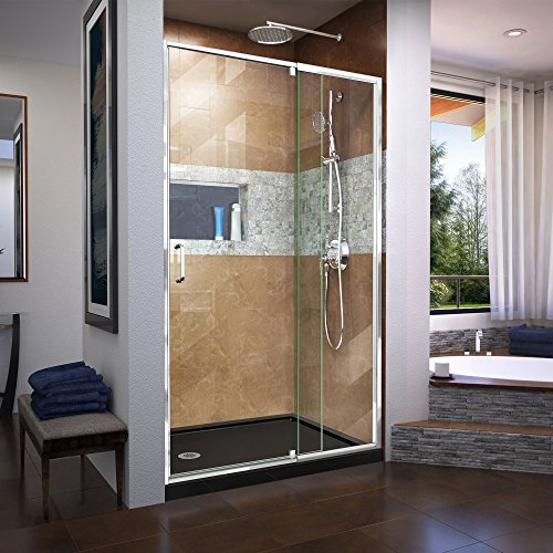 DreamLine Flex 44-48 in. W x 72 in. H Semi-Frameless Pivot Shower Door in Chrome, SHDR-22487200-01 (Tempered Inch Glass 4 Prices 1)