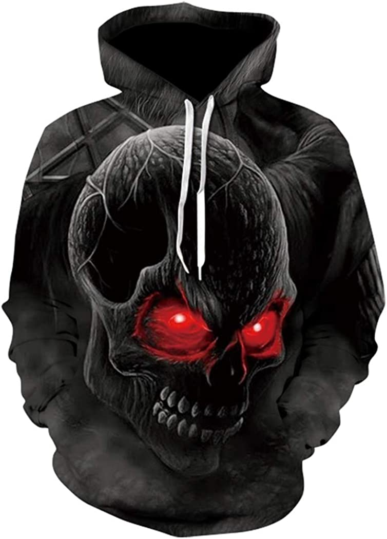 NingYu New 3D Sweatshirt Skull Hoody Printed Hoodies Streetwear Pullovers Jackets Clothing S