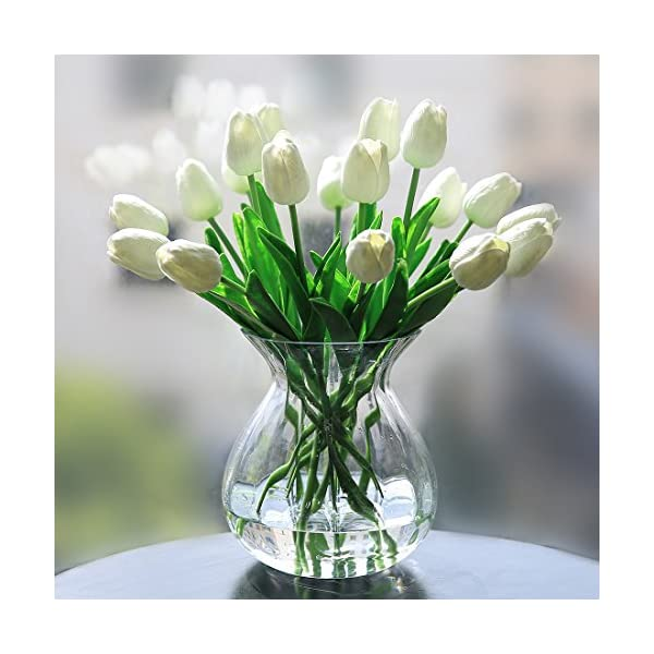 Veryhome PU Fake Tulip Artificial Flower Real Touch for Wedding Room Home Hotel Party Decoration and DIY Welcome Door Wreath Decor (Pack of 20, White)