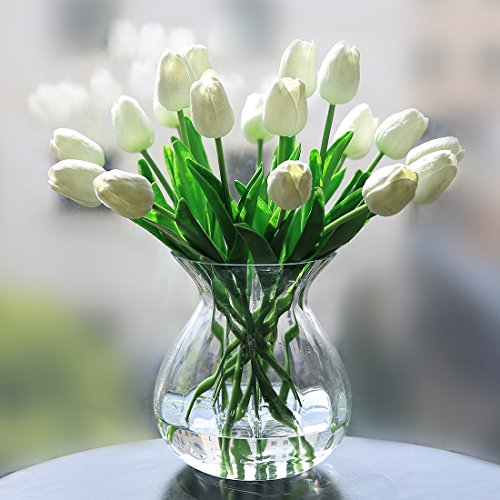 (Veryhome PU Fake Tulip Artificial Flower Real Touch for Wedding Room Home Hotel Party Decoration and DIY Welcome Door Wreath Decor (Pack of 20, White) )