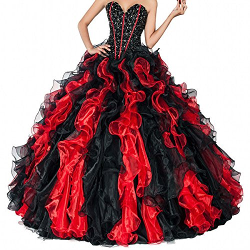 - Fair Lady 2019 Sweetheart Beaded Ball Gown Prom Dresses Formal Long Black Red Ruffles Princess Quinceanera Dresses