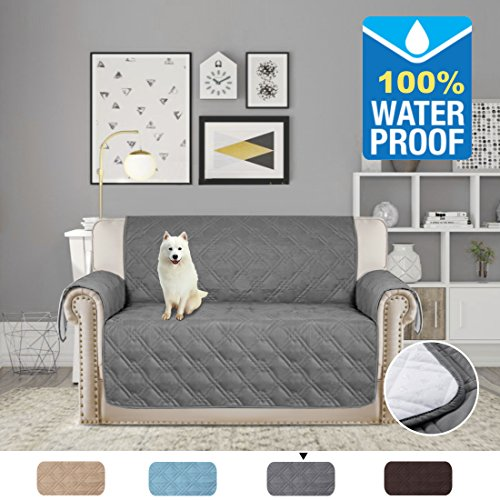 H.VERSAILTEX Full Waterproof Quilted Furniture Cover/Prevent Stains for 2 Seats Sofa, Non slip Keep in Space 75 inch X 90 inch (Love Seat - (Quilted Couch Covers)