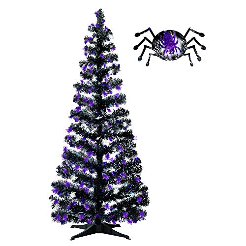 [Halloween Spider Decoration] 5' Black Artificial Halloween Tree Features Shiny Black Tinsel Branches - Indoor Outdoor Yard Haunted House Party Decor Supplies