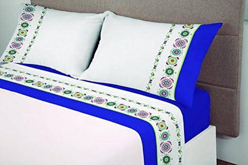 Manterol ALGODONEA- Juego de sábanas 100% algodón,azul, (150 ...