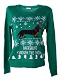 Shineflow Womens Dachshund Through the Snow Ugly Christmas Sweater Pullover Jumper