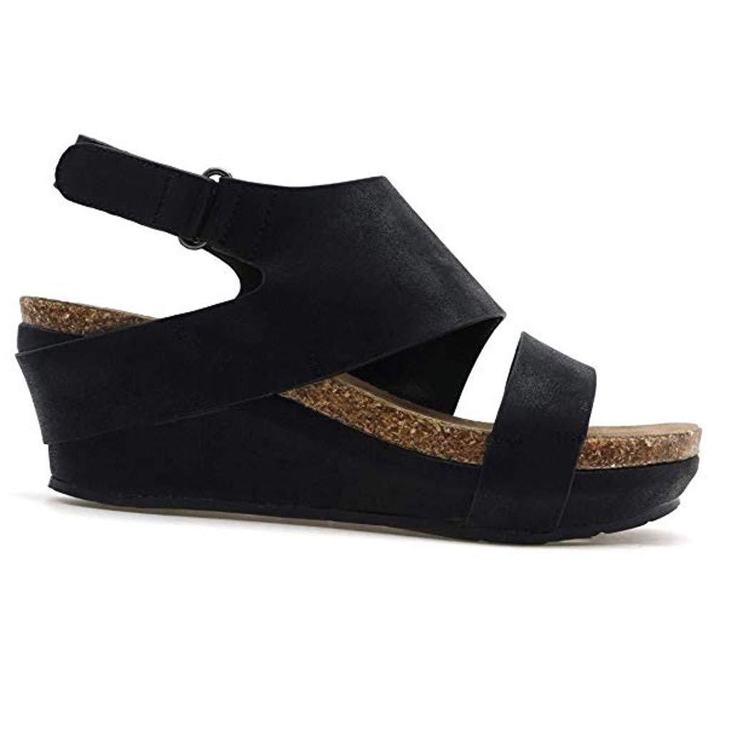 Kawaiine Women's Promotes-Excellence Platform Sandal Roman Slippers Shoes Black