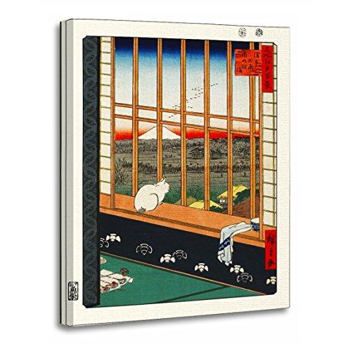 (TORASS Canvas Wall Art Print Japanese Cat on Window by Hiroshige Fine Artwork for Home Decor 16