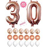 """30th Birthday Decorations,30 Rose Gold 40 """" Number Balloons Foil Mylar With Rose Gold Confetti Balloons & 12 Latex Balloons For Anniversary"""