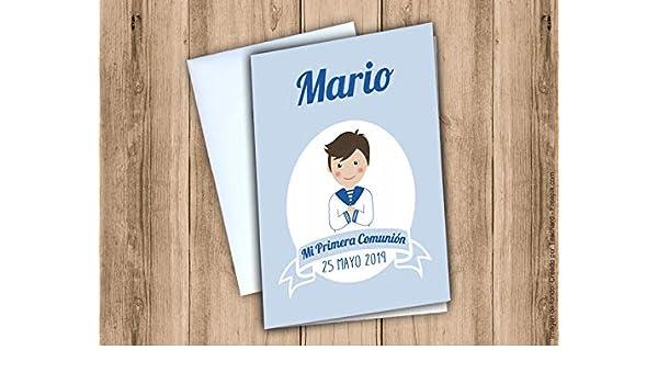 Postal de felicitación Primera Comunión niño: Amazon.es: Handmade