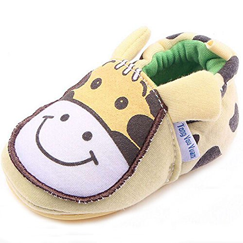 (Lidiano Infant/Toddler Baby Non Slip Rubber Soft Sole Cartoon Walking Slip on Shoes Home/Outdoors (5 M US Toddler, Yellow)