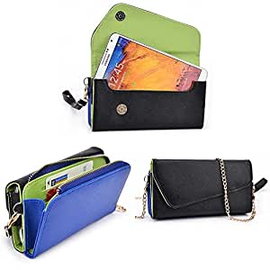 Amoi A955T Wallet Wristlet Clutch With Crossbody Chain and Hand Strap (Removable) and Credit Card Slots| Black, Blue Symphony, Cedar Green