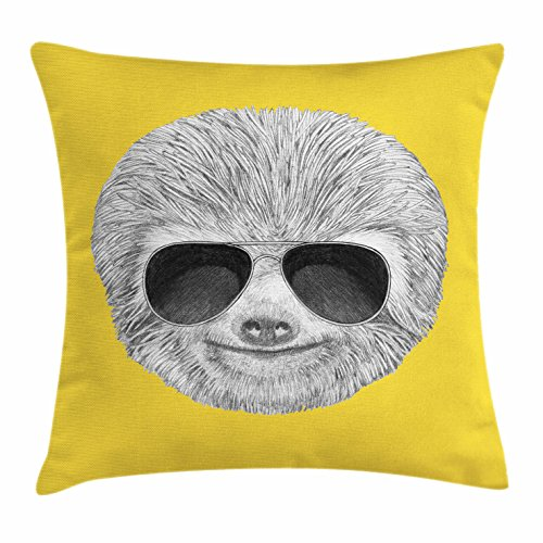 Sloth Throw Pillow Cushion Cover by Ambesonne, Hipster Jungle Animal with Sunglasses Smiling Funny Expression Cool Character Print, Decorative Square Accent Pillow Case, 16 X 16 Inches, Yelow - Sloth Sunglasses