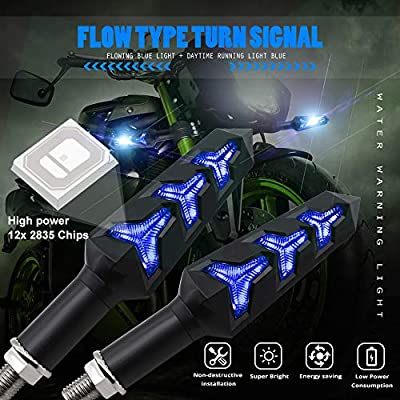 Motorcycle Turn Signal LED Lights 12 LEDs Blue Flowing Indicators Amber Daytime Running Lights Waterproof 12V for Motorcycle Motorbike Off-Road Vehicle.2-Pack.: Automotive
