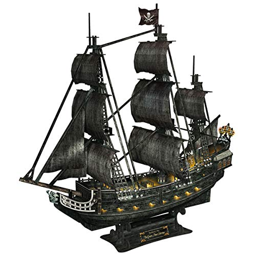 CubicFun 3D Large LED Pirate Ship Puzzle Sailboat Model Building Kits Toys, Queen Anne's Revenge, 340 Pieces