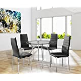 Amazon.com: Glass - Table & Chair Sets / Kitchen & Dining Room ...