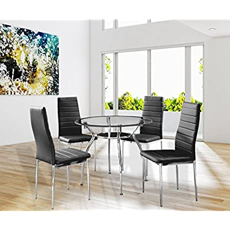 5 Piece Dining Table Set Round 36 Kitchen Table And Chair With Glass Top And 4 Chairs Meeting Room Gaming Room Black