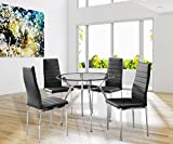 Round Glass Kitchen Table 5 Piece Dining Table Set Round 36