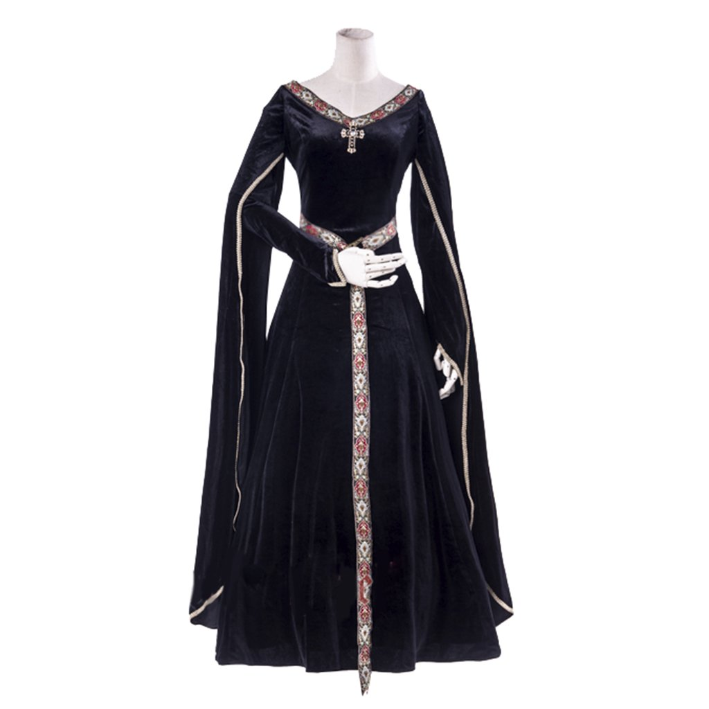 1791's lady Women's Elven Medieval Renaissance Costume Gown Dress White-XXL