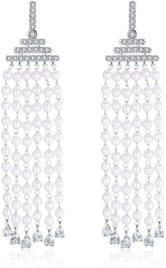 Yarmy Damas aretes AAA circón Conjunto con Borla Larga Perla Pendientes tamaño: 7.5 * 1,3 cm