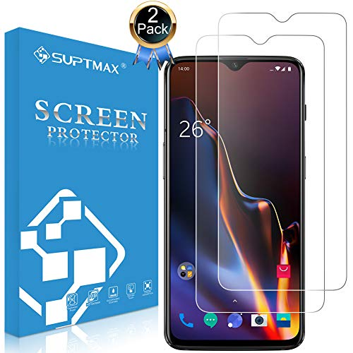SUPTMAX Screen Protector for Oneplus 6T [Case Friendly] Oneplus 6T Tempered Glass [Easy Installation] Oneplus 6T Film [9H Premium Glass] Oneplus 6T Screen Cover