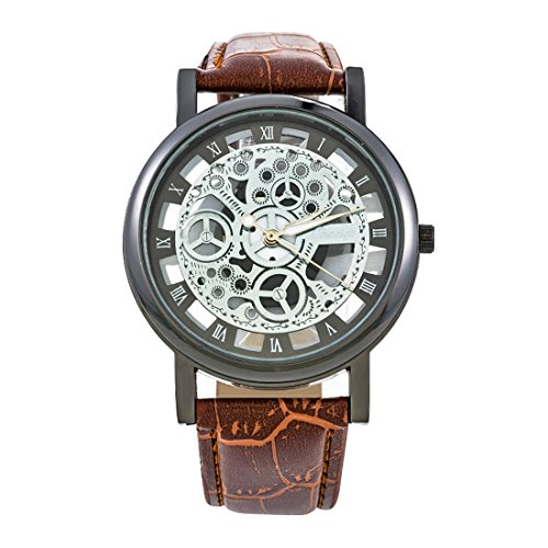 Womens Manual Winding Watch - MJARTORIA Unisex Mechanical Manual Winding Sports Watch(Artificial Leather Number Scale Hollow,Brown Style 5)