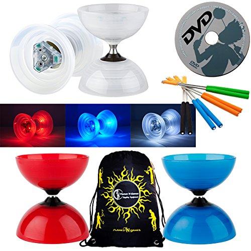 - Henrys BEACH Diabolo Set With VEGA LED Kits + Henry ALUMINIUM Handsticks + Learn Diabolo DVD + Travel Bag! Ultra Bright LED Light Kits on Fixed-Axle Diablo (Blue Diabolo / Blue Handsticks)