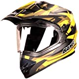 Steelbird Mens ISI Certified Off Road Racing Helmet - SB-42 Airborne Mat Finish with Plain Visor with P Cap (L-600MM, Mat Black with Red)