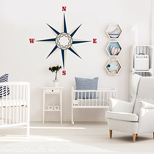 Large Nautical Compass Wall Decal, Fabric Decal, Removable, Repositionable Matte Fabric Peel and Stick Decals Ceiling Wall Decals by Wall Dressed Up (Image #1)