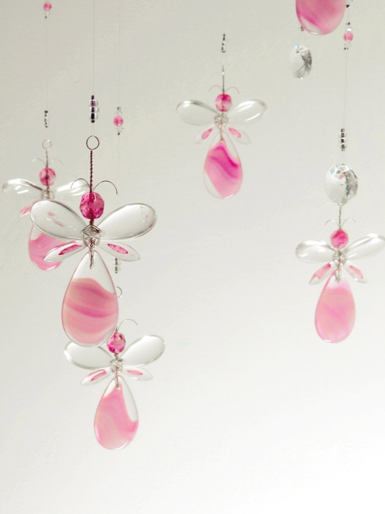 Pink Angel / Fairy and Flower Hanging Chandelier Crystal Suncatcher Mobile Baby Room Decoration