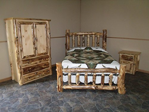 King Log Bed Aspen (Rustic Aspen Log Bedroom Set - King Complete Bed, Armoire, Nightstand)
