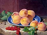 Still life of peaches and currants by Eloise Harriet Stannard berry plate leaves Accent Tile Mural Kitchen Bathroom Wall Backsplash Behind Stove Range Sink Splashback One Tile 8''x6'' Ceramic, Matte