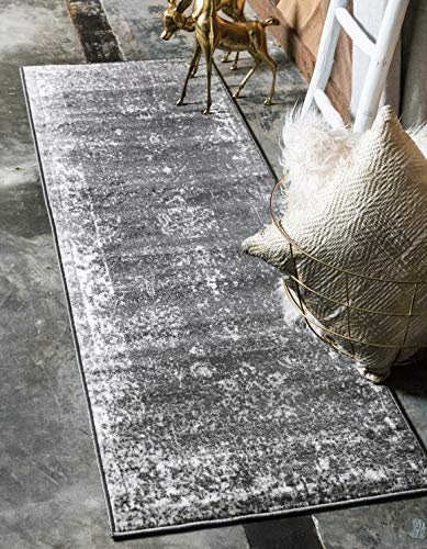 Unique Loom 3134054 Sofia Collection Traditional Vintage Beige Area Rug, 2' 0 x 6' 7 Runner, Dark Gray - This rug is perfect for those high traffic areas in your home. It's also kid and pet friendly! This rug is water resistant, mold and mildew resistant, stain resistant, and does not shed. Cleaning Instructions: As long as it's a short-pile, indoor rug, we recommend spot cleaning with resolve, and regular vacuuming is recommended. You can use a carpet cleaner (shampooer) but it should be dried immediately and evenly. - runner-rugs, entryway-furniture-decor, entryway-laundry-room - 51UpBnGl3gL -