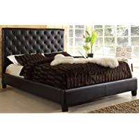 USA Club Tufted Dark Brown Faux Leather Queen-size Platform Bed
