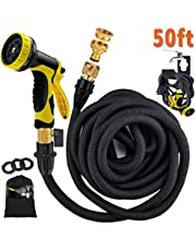 Avyvi 100ft Expandable Garden Hose Pipe ALL NEW Flexible Magic Water Hosepipe with Double Latex Core/Brass Fittings/Extra Strength Fabric / 9 Function Spray Gun/Storage Bag