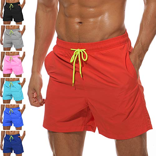 - Lncropo Men's Swim Trunks Quick Dry Swim Shorts with Mesh Lining Swimwear Bathing Suits (O-Orange Red, L)
